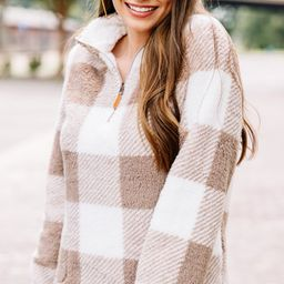 On The Move Taupe Brown Buffalo Plaid Pullover   The Mint Julep Boutique