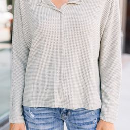 Sweet Ideas Olive Green Waffle Top   The Mint Julep Boutique
