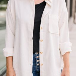 Feeling Your Best Ivory White Corduroy Shacket   The Mint Julep Boutique