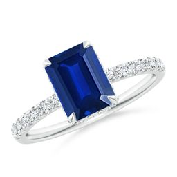 Emerald-Cut Sapphire Engagement Ring with Diamonds   Angara   Angara.com