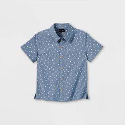Toddler Boys' Chambray Print Short Sleeve Button-Down Shirt - art class™ Blue   Target