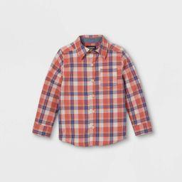 OshKosh B'gosh Toddler Boys' Plaid Long Sleeve Button-Down Shirt - Maroon   Target