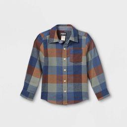OshKosh B'gosh Toddler Boys' Flannel Check Long Sleeve Button-Down Shirt - Olive Green/Navy   Target