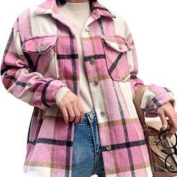 Yeokou Women's Casual Wool Blend Botton Down Plaid Shacket Jacket Shirt Coat   Amazon (US)