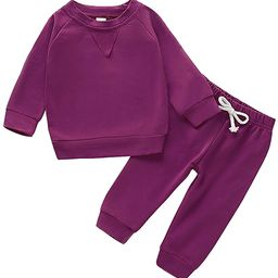 Happy Town Fall Outfits for Toddler Girl Boy Long Sleeve Top and Long Pants Set Toddler Sweatsuit...   Amazon (US)