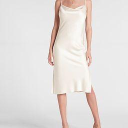 Satin Cowl Neck Midi Slip Dress | Express