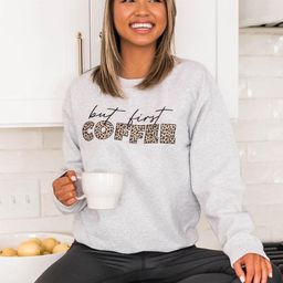 But First Coffee Animal Print Ash Graphic Sweatshirt | The Pink Lily Boutique