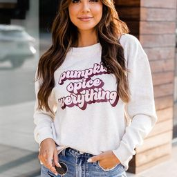 Pumpkin Spice Everything Heather Sand Graphic Sweatshirt | The Pink Lily Boutique