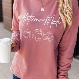 Autumn Mode Mauve Graphic Sweatshirt | The Pink Lily Boutique