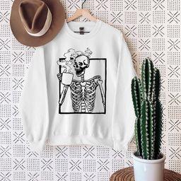Hot Coffee Skeleton Sweatshirt Skeletons Halloween Oversized   Etsy   Etsy (US)