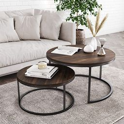 Nathan James Stella Round Modern Nesting Coffee Set of 2, Stacking Living Room Accent Tables with... | Amazon (US)