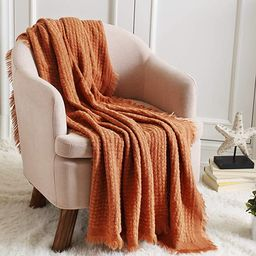 CREVENT Farmhouse Rust Knit Throw Blanket for Couch Sofa Chair Bed Home Decoration, Soft Warm Coz... | Amazon (US)