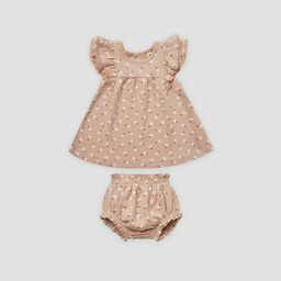 Q by Quincy Mae Baby Girls' 2pc Floral Brushed Jersey Dress Set - Blush Pink | Target