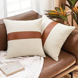 MIULEE Pack of 2 Stripe Boho Throw Pillow Covers Decorative Square Farmhouse Pillowcase Faux Leat... | Amazon (US)