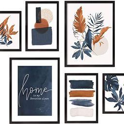 ArtbyHannah 6 Pieces Framed Botanical Gallery Wall Frames Kit with Tropical Plants Decorative Art... | Amazon (US)