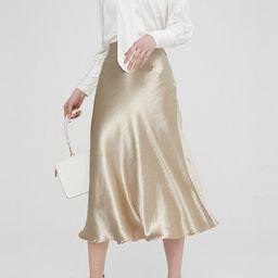 Multitrust Women's Satin Trumpet High Waist Skirt Silver Gold Long Skirt Metallic Color Party Ski... | Walmart (US)