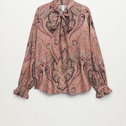 Tie-neck blouse | MANGO (US)