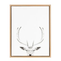 Kate and Laurel Sylvie Deer with Antlers Black and White Portrait Framed Canvas Wall Art by Simon...   Walmart (US)