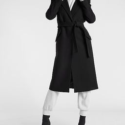 Wool-Blend Belted Wrap Front Coat | Express