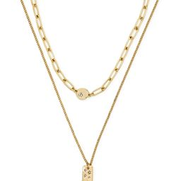 Scoop Womens 14K Gold Flash-Plated Celestial Link and Curb Pendant Necklace Duo, 2-Piece | Walmart (US)