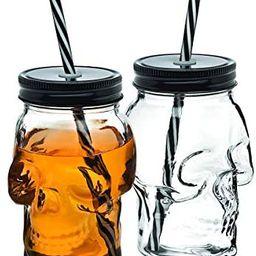 Amazon.com: Skull Mason Jar Mug Glass Tumbler Cup with Cover and Straw - 16oz, Set of 2 : Home & ... | Amazon (US)