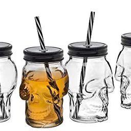 Amazon.com: Skull Mason Jar Mug Glass Tumbler Cup with Cover and Straw - 16oz, Set of 4 : Home & ... | Amazon (US)