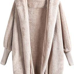 SweatyRocks Women Khaki Hooded Dolman Sleeve Faux Fur Cardigan Coat for Winter   Amazon (US)