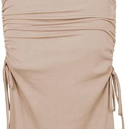 Womens Casual High Waist Pull-on Slit Maxi Skirt Side Drawstring Ruched Sexy Knitted Bodycon Mini...   Amazon (US)