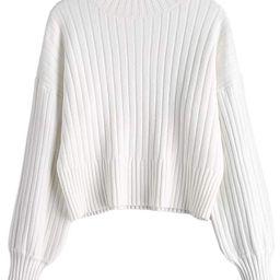 ZAFUL Women's Mock Neck Long Sleeve Ribbed Knit Basic Pullover Sweater   Amazon (US)