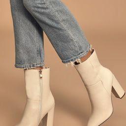 Dawson Bone Pebble Pointed-Toe Mid Calf Boots | Lulus (US)