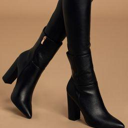 Dawson Black Pebble Pointed-Toe Mid Calf Boots | Lulus (US)