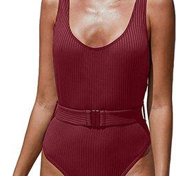 PRETTYGARDEN Women One Piece Swimsuit U Neck Tummy Control Swimwear Slimming Strap Backless Bathi... | Amazon (US)