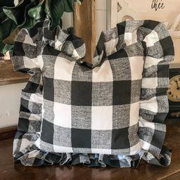 Black Buffalo check cover w/ matching folded ruffle | Etsy | Etsy (US)