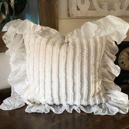 Cream chenille stripe pillow cover w/ 5 hemmed edge ruffle | Etsy | Etsy (US)