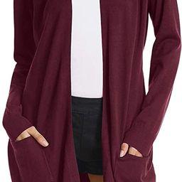 GRACE KARIN Women Open Front Cardigan Sweaters Pockets Long Sleeve Shrugs | Amazon (US)