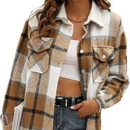 Himosyber Womens Casual Brushed Plaid Lapel Button Down Shacket Shirt Coat Jacket | Amazon (US)