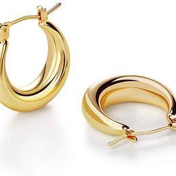 LILIE&WHITE Chunky Gold Hoop Earrings for Women Cute Fashion Hypoallergenic earrings Minimalist J... | Amazon (US)