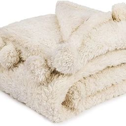 PAVILIA Cream Sherpa Throw Blanket for Couch, Pom Pom | Fluffy Plush Soft Blanket for Sofa Bed | ... | Amazon (US)