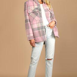 Cabin Fever Pink Multi Plaid Shacket   Lulus (US)
