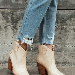 Bonnie Beige Crocodile-Embossed Pointed-Toe Ankle Boots   Lulus (US)