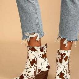 Jessamine Beige and Brown Cow Print Suede Pointed Toe Booties   Lulus (US)