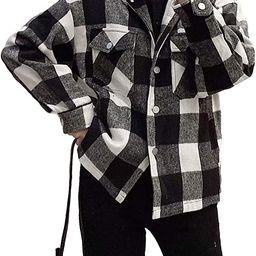 Women Wool Gingham Shacket Checkered Plaid Lapel Shirt Jacket with Front Pocket Long Sleeves | Amazon (US)