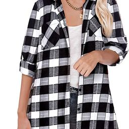 Hotouch Womens Flannel Plaid Shirts Dress Roll Up Long Sleeve Pockets Casual Button Down Long Shi... | Amazon (US)