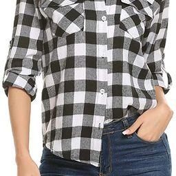 Women's Plaid Button Down Shirt Long Roll up Sleeve Blouse Casual Buffalo Top | Amazon (US)