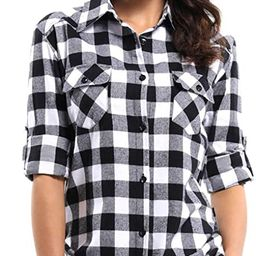 OCHENTA Women's Long Sleeve Button Down Plaid Flannel Shirt | Amazon (US)