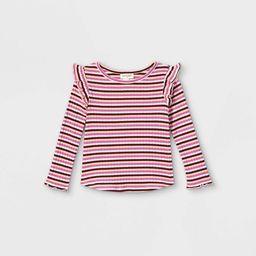 Toddler Girls' Striped Rib Long Sleeve T-Shirt - Cat & Jack™ Pink 4T   Target
