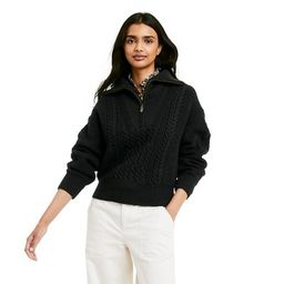 Women's Quarter Zip Cableknit Pullover Sweater - Nili Lotan x Target Black   Target