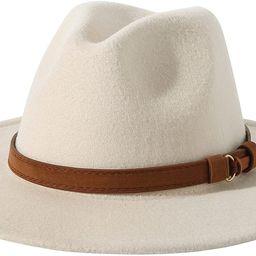 Lanzom Womens Classic Wide Brim Floppy Panama Hat Belt Buckle Wool Fedora Hat   Amazon (US)