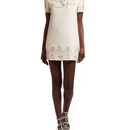 Floral-Embellished Mini Shift Dress | Neiman Marcus