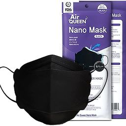 Black AirQueen Nano Fiber Filter Face Safety Mask for Adult, Individually Packaged, Made in Korea...   Amazon (US)